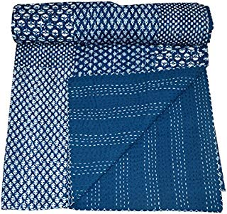 Jaipurhandloom Indigo color Hand Block Printed Kantha Quilt, Queen Size Patchwork Cotton Bedspread, Made By Artisians Of India