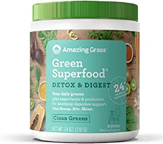 Amazing Grass Green Superfood Detox & Digest: Cleanse with Super Greens Powder, Digestive Enzymes & Probiotics, Clean Gree...
