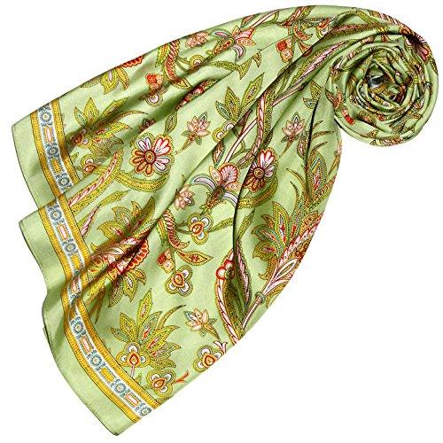 Lorenzo Cana Damen Seidentuch aufwändig bedrucktes Tuch 100% Seide - 90 cm x 90 cm harmonische gruen Farben mit Floral Muster Damentuch Schaltuch 89162