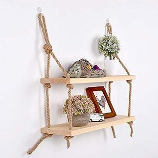 Étagère Mur en bois massif suspendu étagère avec cordes, rustique style classique, naturel, 2 étagères A+