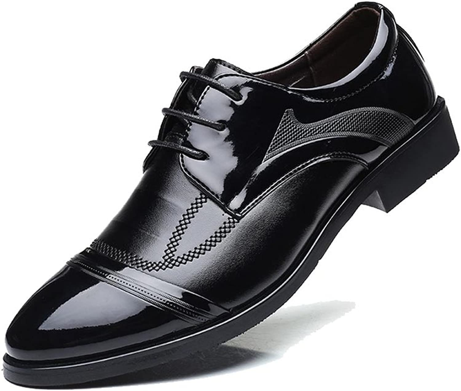 GLSHI Men's shoes Fashion Casual Business Leather Coat of Paint shoes Black Pointed Toe Formal Business Work