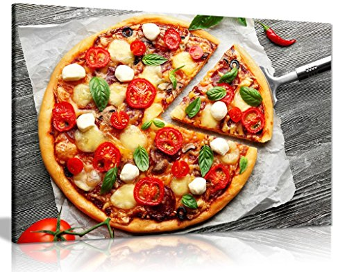 Italian Pizza On Wooden Board Food Restaurant Canvas Wall Art Picture Print (30x20in)