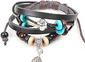 Native American Indian Style Pulseras pluma Cuero Madera bolas pulsera pulseras decoraci¨®n de Halloween