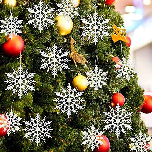 24 Stück Weihnachten Schneeflocken Deko,Glitter Schneeflockendeko,Schneeflocke Weihnachtsbaumschmuck, Plastik Aufhängen Weihnachten Schneeflocken Anhänger,Weihnachtsbaum Deko,Weihnachtsbaum Hängende