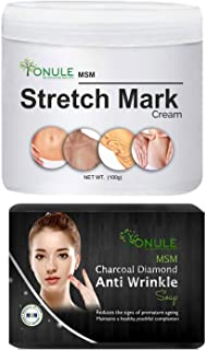 Ionule MSM Stretch Mark Cream with Charcoal Anti Wrinkle Soap for Men and Women Combo Pack of 2 - (2 X 90 gm)
