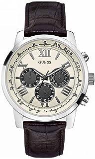 ساعة جيس بسوار مصنوع من الجلد الاسود ومينا بيضاء للرجال W0380G1