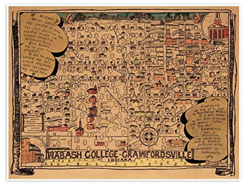 Antiguos Maps - Wabash College Campus Guide Map Circa 1876 - Measures 24 in x 32 in (610 mm x 813 mm)