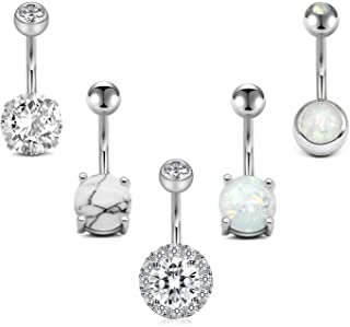 Sponsored Ad - LAURITAMI Belly Button Rings Surgical Steel Belly Ring 14G Opal CZ Navel Piercings Jewelry for Women Girls ...