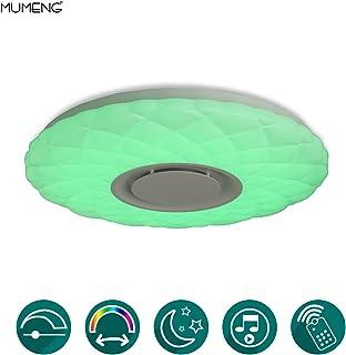 Plafón Luz Lámpara de Techo de Música con Altavoz Bluetooth - MUMENG 36W Luz de Techo, Brillo ajustado y cambio de color Plafón de Techo para Dormitorio, Sala de Estar