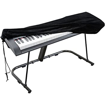 Piano Keyboard Cover, Stretchable Velvet Dust Cover with Adjustable Elastic Cord and Locking Clasp for 61 Keys Electronic Keyboard, Digital Piano, Yamaha, Casio, Roland, Consoles and more(Black)