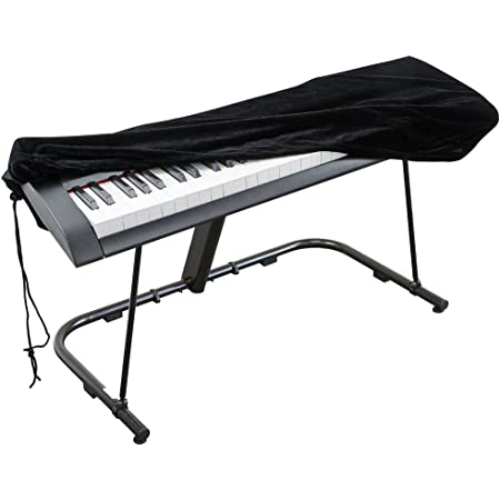 Piano Keyboard Cover, Stretchable Velvet Dust Cover with Adjustable Elastic Cord and Locking Clasp for 88 Keys Electronic Keyboard, Digital Piano, Yamaha, Casio, Roland, Consoles and more(Black)