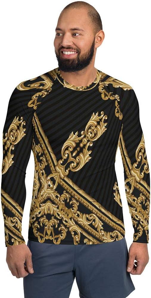 Men's Rash Guard Long Large discharge sale Sleeve Stripe Black Harp Gold Sportswear Super popular specialty store