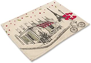 1 Pcs Tower Heart Cotton Linen Pattern Placemats Optimal Popular Place Mat Dinner Tables Sets Non Slip Baby Learning Food Plates Washable Cloth Cover Tool Christmas Decorations, Type-03