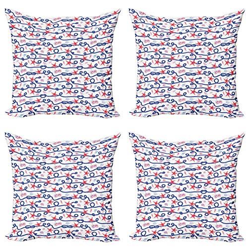 ABAKUHAUS Estrella de mar Set de 4 Fundas para Cojín, vieiras Cuerda, Estampado Digital en Ambos Lados y Cremallera, 60 cm x 60 cm, Multicolor