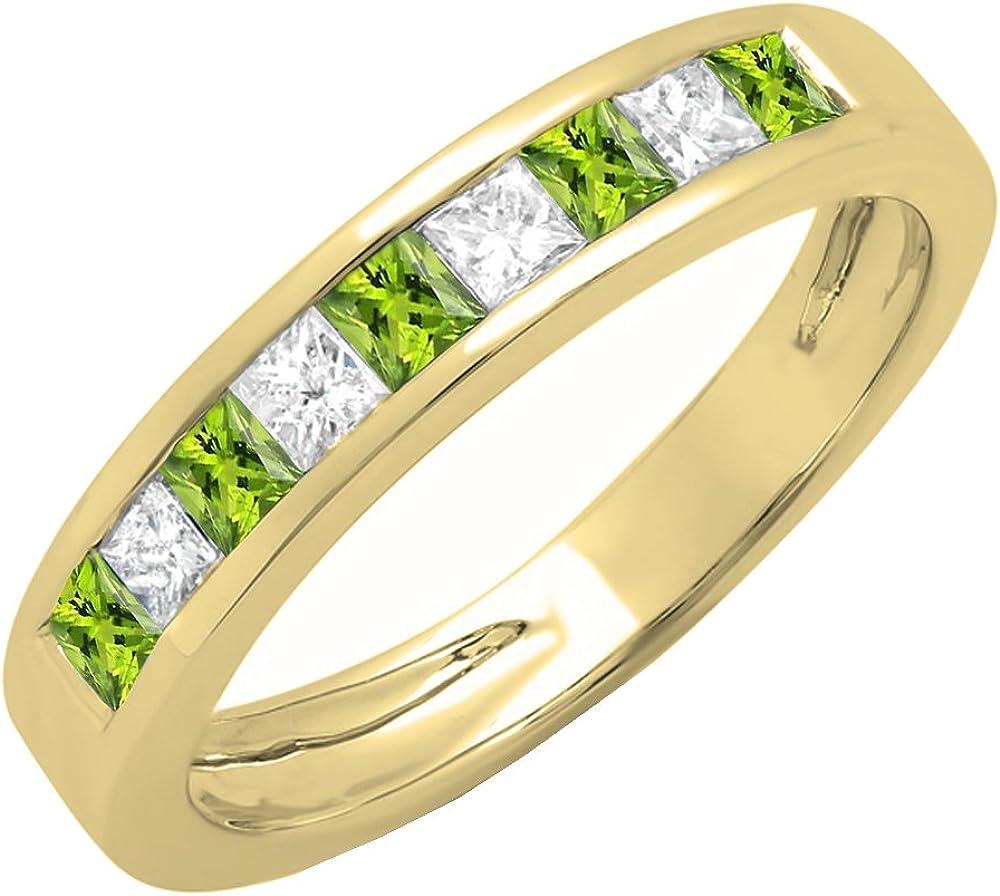 Dazzlingrock Collection 10K Gold Princess Cut Peridot & White Diamond Ladies Anniversary Wedding Band Stackable Ring