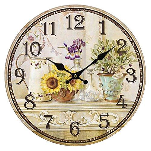 HUABEI 30 cm Orologio da Parete di Legno Silenzioso Stile Vintage Decorazione a Muro per Home