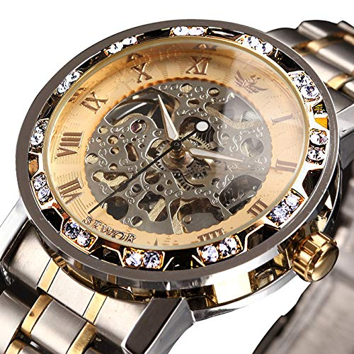⌚[Classic Luxury Designs]: Luxurious diamond design ,Classic skeleton dial, Roman numeral dial, give you exceptional artistic beauty.This skeleton watch with a transparent lower cover, you can see the movement of the watch movement. ⌚[Mechanical]:Ope...