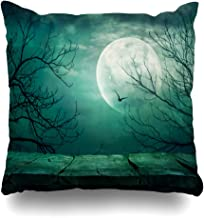 Ahawoso Throw Pillow Covers Night Blue Table Spooky Forest Full Moon Evil Holidays Horror Scary Castle Gothic Design October Home Decor Zippered Pillowcase Square Size 20 x 20 Inches Cushion Case