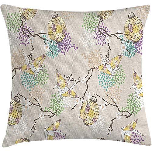 Fodera per cuscino per cuscino lanterna, carta per gru Origami colorata con rami e fiori, cultura orientale, federa, lilla rosa beige giallo, 45X45 cm