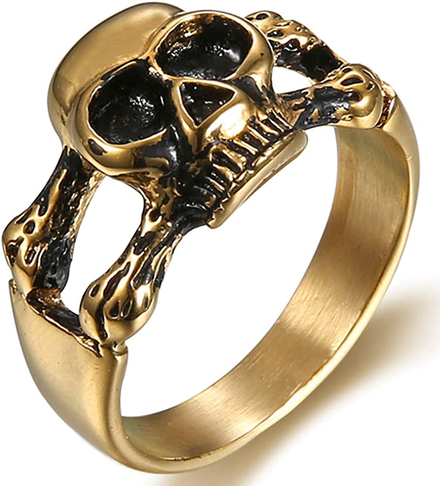 Stainless Steel Retro Vintage Gothic Skull Cocktail Party Biker Ring