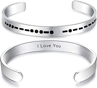ALoveSoul Morse Code Secret Message Bracelet Stainless Steel Cuff Creative Jewelry Gift