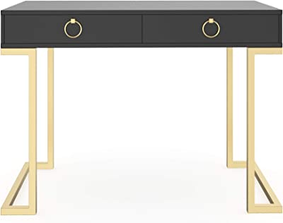 Nathan James Leighton Two-Drawer Home Office Computer Desk Vanity Table, Wood and Metal, Black/Gold