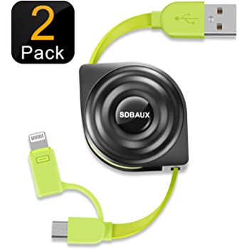 SDBAUX巻き取りケーブルリール式 ライトニング&Micro USB 2in1 USB充電 データ転送対応iPhone XS/XS Max/XR/X/8/7/6/5s(2セット)