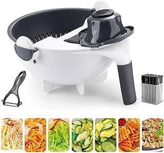 9 in 1 Multifunction Magic Rotate Vegetable Cutter with Drain Basket, New Veggie Mandoline Slicer Grater Shredder, Food Strainer Fruit Colander