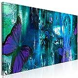 murando Cuadro en Lienzo Abstracto 135x45 cm Impresión de 1 Pieza Material Tejido no Tejido Impresión Artística Imagen Gráfica Decoracion de Pared - Mariposa Flores Textura Azul Violeta g-A-0347-b-a