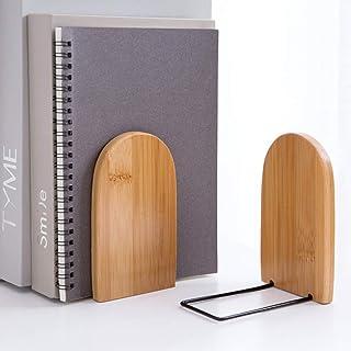 2Pcs Serre-livres en Bois Bambou Presse-livres Support de Livres en Base Métal Casier à Livres Decor Simples Stockage de B...