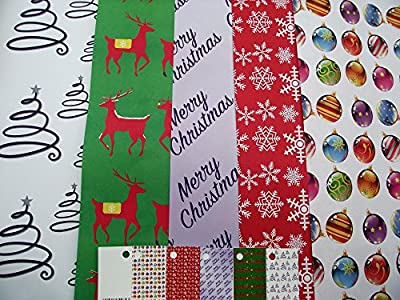 Audsemporium Ltd - 10 Sheets of Modern - Contemporary Christmas Wrapping Paper - Snowflake - Christmas Tree - Stars - Baubles - Reindeer & 5 Gift Tags (2 Sheets of 5 Designs)