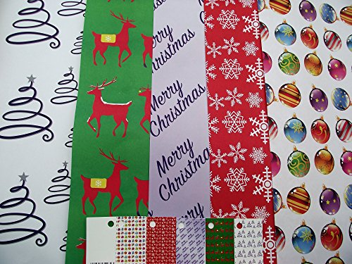 Audsemporium Ltd - 10 Sheets of Recyclable Modern - Contemporary Christmas Wrapping Paper - Snowflake - Christmas Tree - Stars - Baubles - Reindeer & 5 Gift Tags (2 Sheets of 5 Designs)