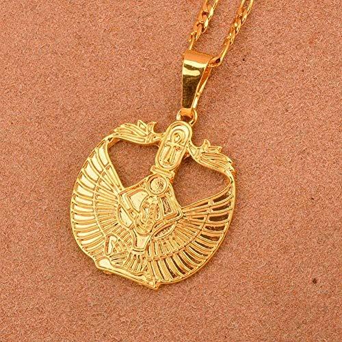 LBBYMX Co.,ltd Collar de Moda Color Dorado Egipcio Ankh Cruz Diosa Collares Pendientes para Mujeres/Hombres Joyería Egipto Religión Africana Cadena de 45 cm por 3 mm