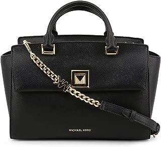 Michael Kors 30S9GYLS2L-001 Sylvia Medium Crossgrain Leather Satchel, Black