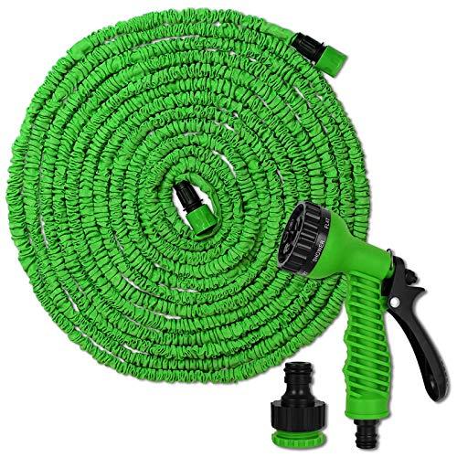 TW24 Flexibler Gartenschlauch 15m oder 30m inkl. Multifunktions Brause Flexi Schlauch Wasserschlauch flexibel Gartenschläuche dehnbar (15m)