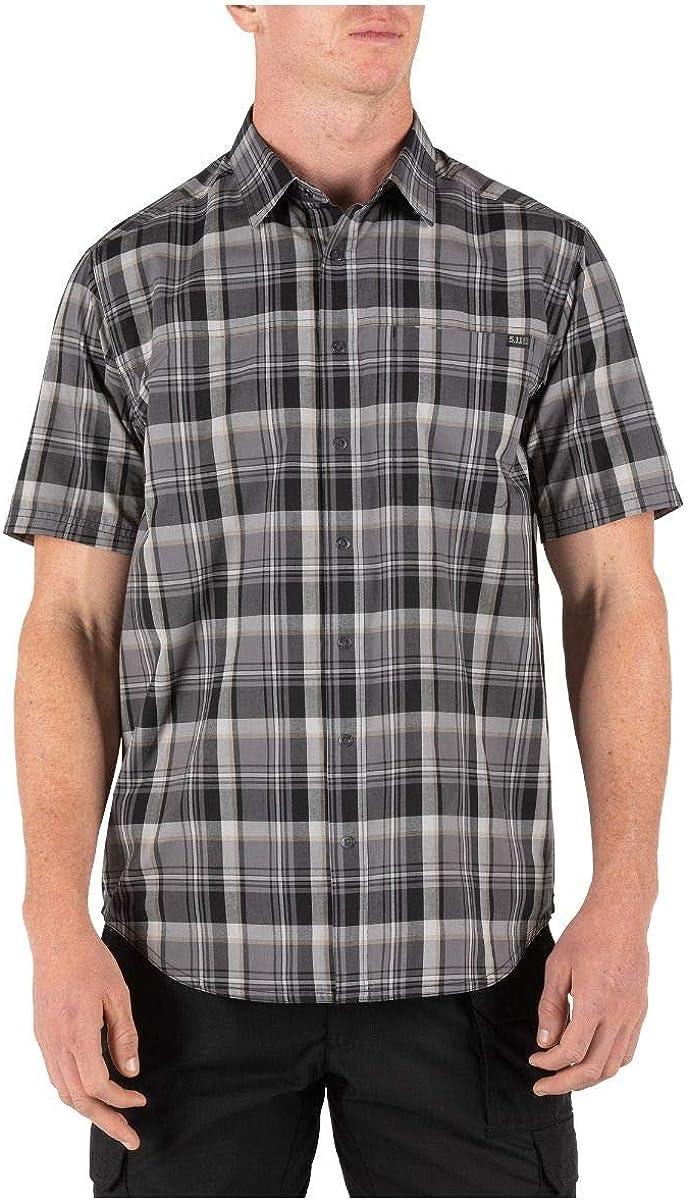 5.11 Tactical Men's Poly-Cotton Hunter Plaid Short Sleeve Shirt, Black Plaid, X-Small, Style 71374