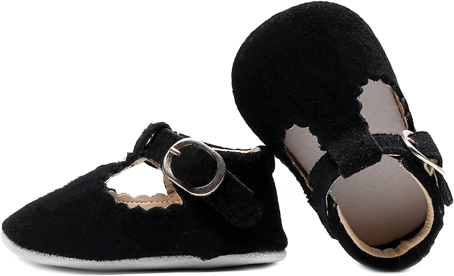 HONGTEYA T-Strap Suede Leather Baby Moccasins Shoes with Soft Sole T-bar Sandals Mary Jane for Infants Prewalkers Toddlers Boys Girls