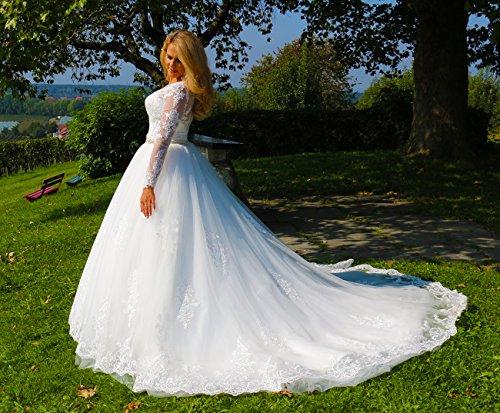 Luxus Brautkleid Hochzeitskleid // Spitze mit Ärmel Prinzessin Brautkleid - 5