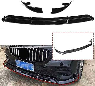 Chrome Tuning Becquets Avant l/èvre de Garniture de Menton Diffuseur Spoiler Kit de Corps de Protection pour Mercedes Benz W205 C300 C400 C63 AMG Noir Brillant Gemmry 3PCS Car Pare-Chocs Avant L/èvre