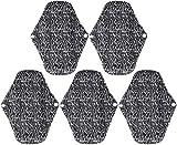 FANPING Artibetter 5PCS Sanitary Pads Sanitary Napkin Wiederverwendbare waschbare Tuch Menstrual Pads Bambuskohle Pads Slipeinlagen for Damen und Herren Dame Girl Women (schwarz)