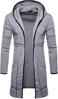 Mogogo Mens Pure Colour Cardigan Hoodie Fall Winter Relaxed Fit Hoodie