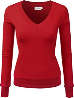 Women's Simple V-Neck Pullover Soft Knit Sweater