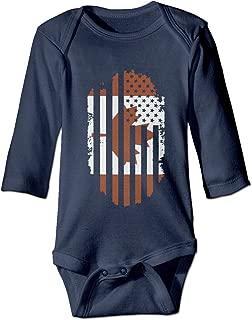KIDDDDS Baby's Canadian American Flag Canada and USA Long Sleeve Romper Onesie Bodysuit Jumpsuit