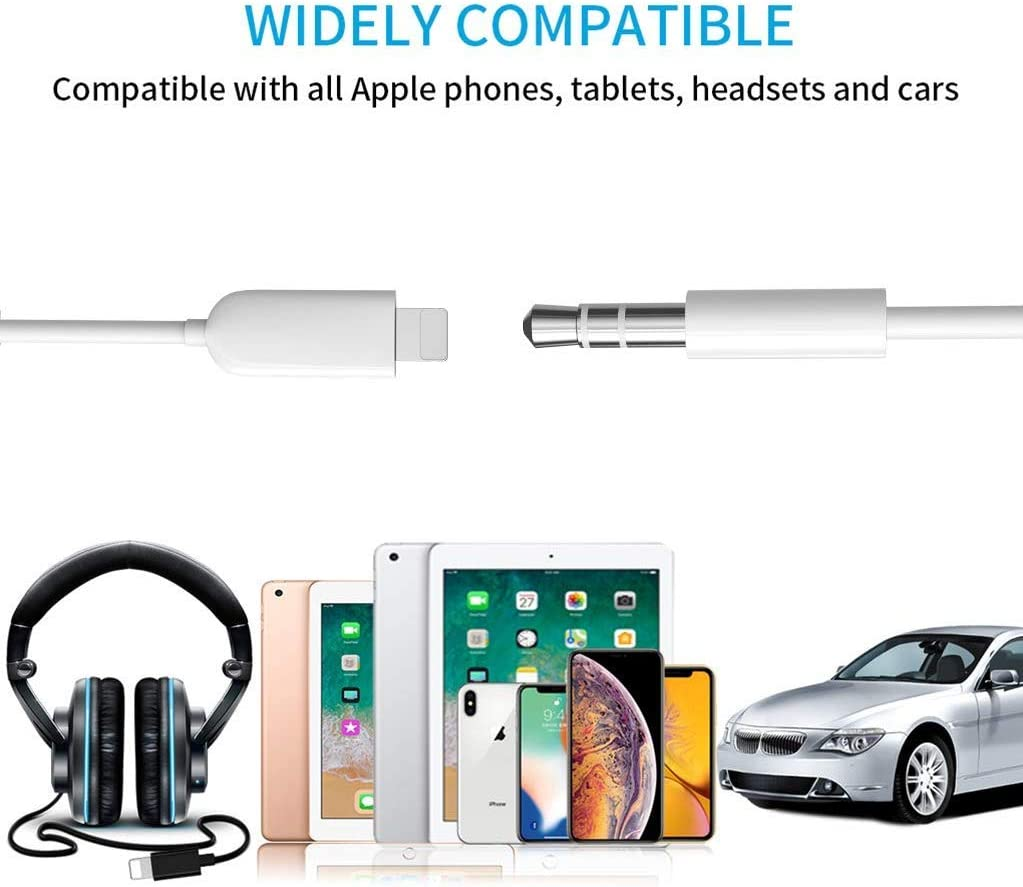 White Aercue Aux Cable for iPhone Adapter to 3.5mm Aux Cord Car AUX Audio Cable Compatible with iPhone 7//8//X//XS//11//12 for Car//Home Stereo//Headphone//Speaker Support All IOS System