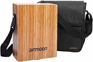 ammoon Cajon Box Drum Stringed Persussion Instrument with Bag Shoulder Strap for Kid Adult Compact Size Portable Cajon