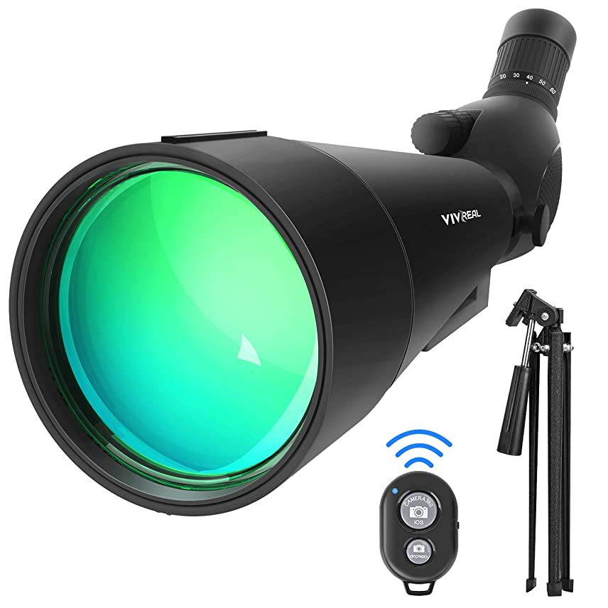 ジョージスティーブンソン突っ込むトレーダー20-60x80 HD スポッティングスコープ 三脚付き 45度の接眼レンズ 防水 角度付きスポッティング望遠鏡 光学ズーム 99-49.5フィート/1000ヤード 子供と大人初心者用 キャリーバッグリモコン付き