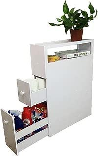 Yontree Bath Cabinet Bathroom Storage Gap Rack Drawer Storage Shelf Slide Out Tower -Soft White