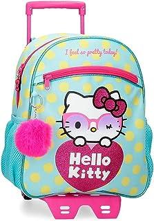 Hello Kitty Pretty Glasses Mochila Escolar con Carro Verde 27x33x11 cms Poliéster 9,8L