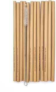 SUP Pack de 12 Pajitas Reutilizables de Bambú 100% con Limpiador | Pajitas Biodegradables para Beber, Naturales, Reutilizables y Ecológicas, Cepillo Limpiador Incluido, 5-10 mm de Diámetro