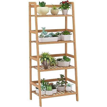 Homfa Estantería Baño Bambú Estantería Almacenaje para Libros Plantas Estantería para Salón Cocina con 4 Estantes Color Natural